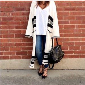 Zara Woman Longline Aztec Print Cardigan/ Coat
